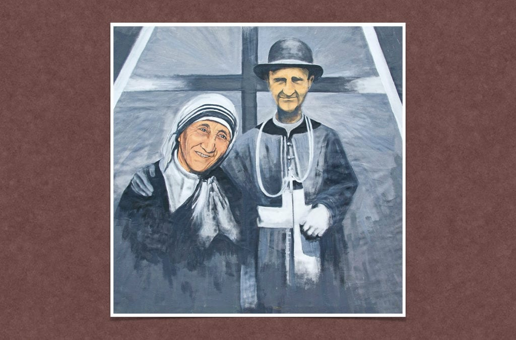 Sainte Mere Teresa de Calcuta et le Serviteur De Dieu, Monseigneur Janez Francisek Gnidovec,  Prêtre de la Mission  une Sainte Parlant d'un Autre Saint