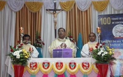 Inauguration de la célébration du centenaire et félicitations aux confrères de la province de l'Inde du Sud partant en mission internationale et en mission ad gentes en 2021