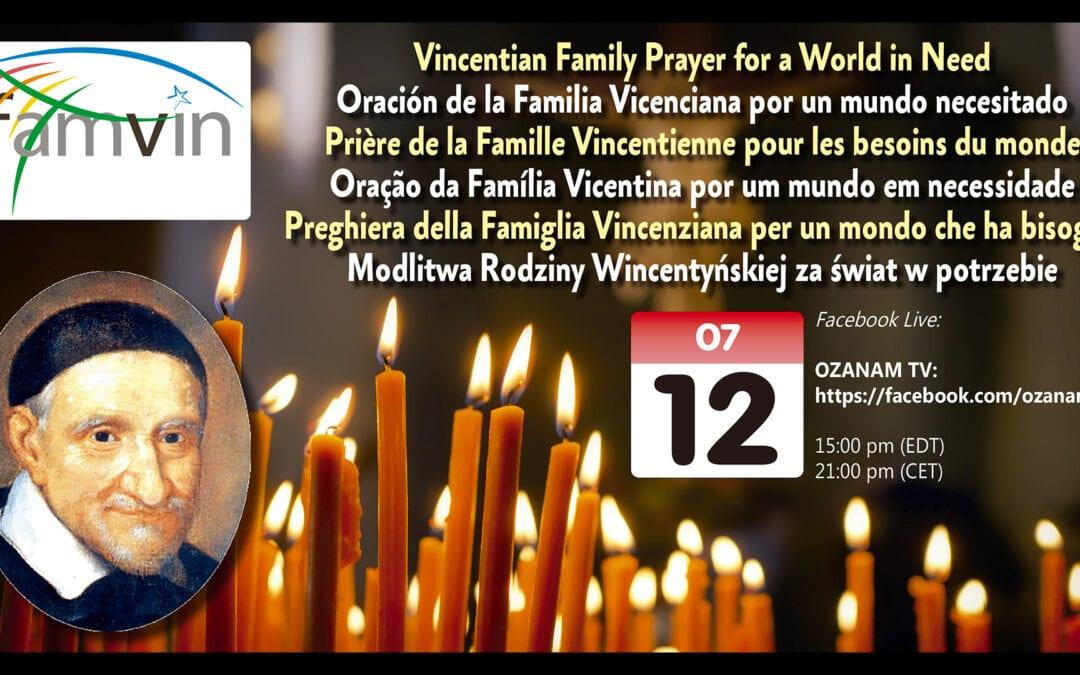 12 luglio: Preghiera della Famiglia Vincenziana per un mondo che ha bisogno (Facebook Live)