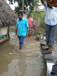 Fr.  Joseph Patrick, C.M. assessing needs at the Chennai flood